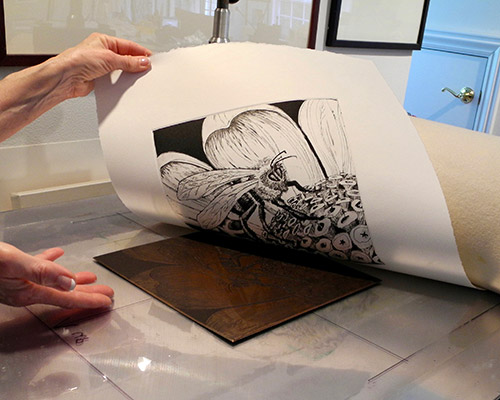 The process of creating an etching