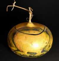 Painted gourd container frog design