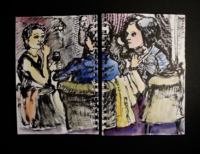 Sketchbook page, Paris jazz club