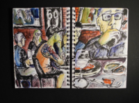 Sketchbook page, Red Zone sports bar
