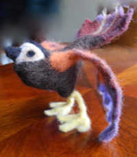Hand-felted bird